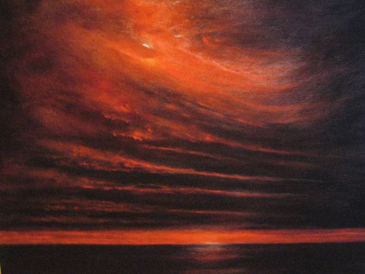 """Painting titled """"Aurora Borealis in…"""" by Flaten, Original Art, Oil Mounted on Wood Panel"""