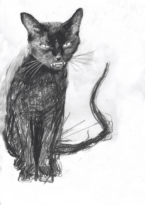 Black Cat - Drawing,  40x30 cm ©2016 by Fleur Elise Noble -                                            Illustration, Animals, evil, black, cat, badluck, scary, freaky