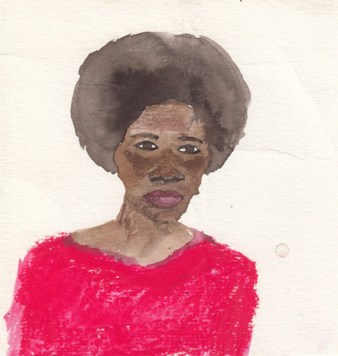 """Painting titled """"Lady in Red"""" by Fleur Elise Noble, Original Art, Watercolor"""