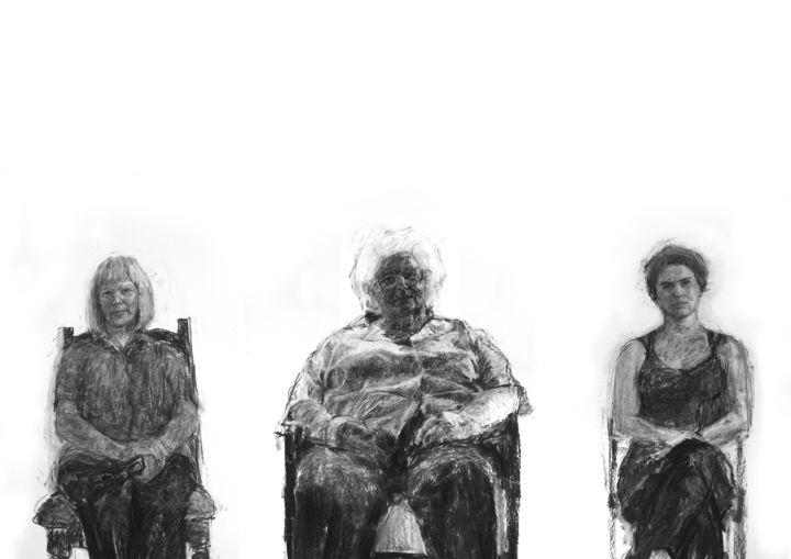 My Mum, My Grandma and Me - Drawing,  170x300 cm ©2009 by Fleur Elise Noble -                                            Portraiture, Family, Shelagh Noble, Lysbeth Noble, Fleur Elise Noble