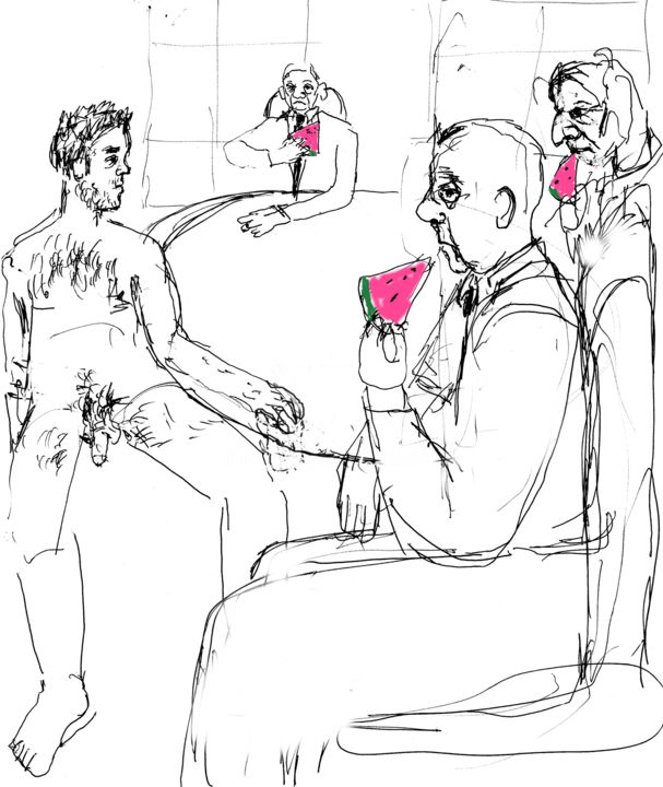 Watermelon Men - © 2014 Business men, men in suits, watermelon, nude Online Artworks