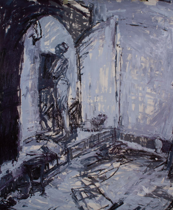 Blue-Grey Painting - Painting,  74.8x20.5 in, ©2005 by Fleur Elise Noble -                                                                                                                                                                          Abstract, abstract-570, People