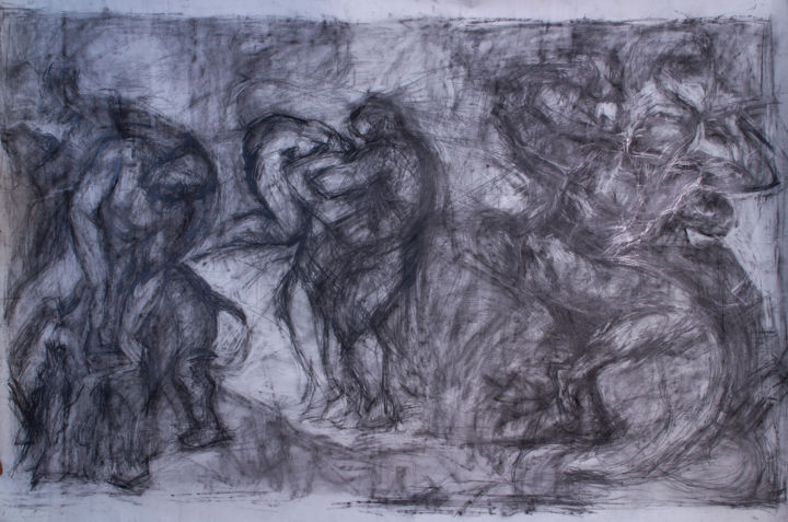 Transcription - Dessin,  61x86,6 in, ©2006 par Fleur Elise Noble -                                                                                                                                                                                                                      Abstract, abstract-570, Animaux, Personnes