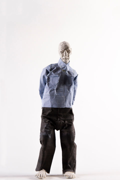 Paper Puppet 3 - Sculpture,  9.8x3.9 in, ©2012 by Fleur Elise Noble -                                                                                                                                                                                                                      Figurative, figurative-594, People, Performing Arts