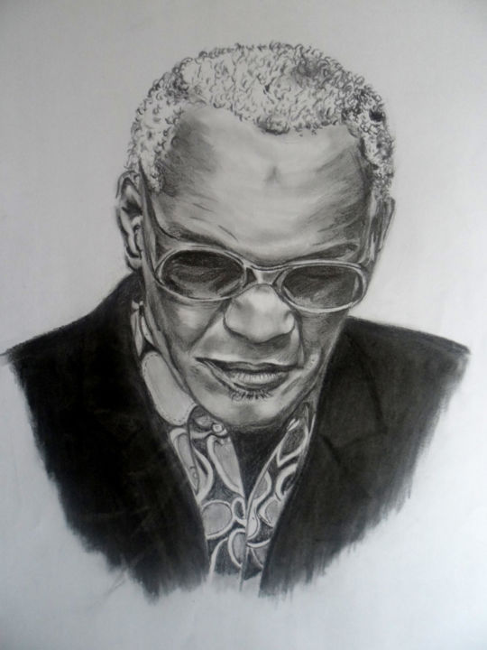 Ray Charles - Drawing ©2015 by Martine FLEURY -                        Portraits