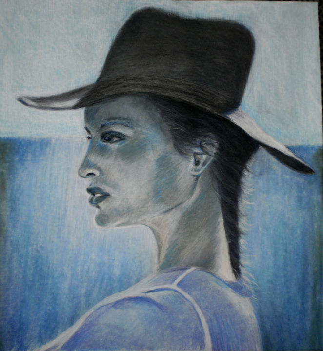 """Femme """"bleue"""" - Drawing,  65x50 cm ©2011 by Martine FLEURY -                        People"""