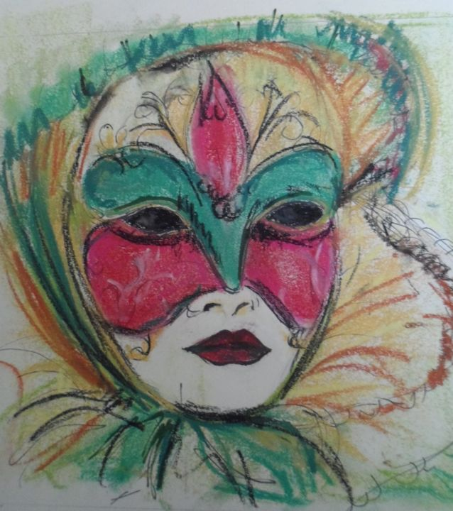 Masque esquisse - Drawing,  35x25 cm ©2012 by Martine FLEURY -