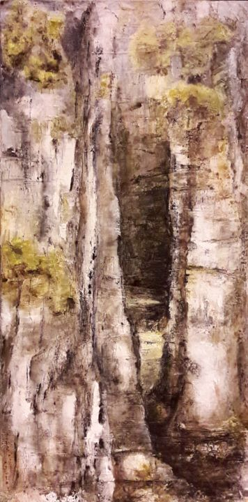 Passage - Painting,  80x40x3.5 cm ©2019 by Florence Faure -                                                                                    Contemporary painting, Canvas, Tree, Nature, Landscape, rocher, falaise, ecorce, végétation, abstraction