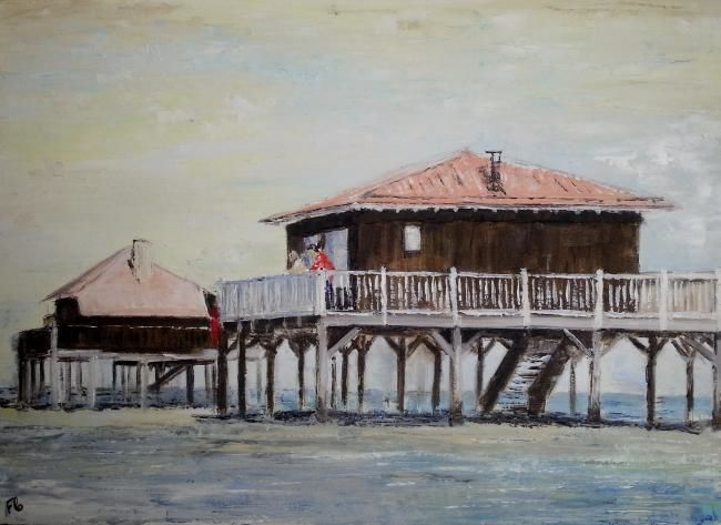Cabanes Tchanquées - Painting,  19.7x27.6 in, ©2013 by Florence Faure -                                                              cabanes Arcachon mer