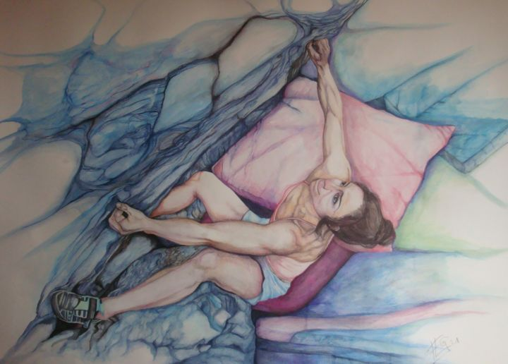 """Drawing titled """"Force douce"""" by Flog, Original Art, Pencil"""