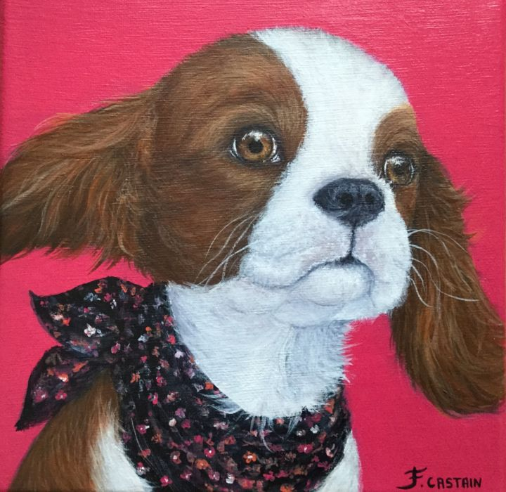 """ FUN "" - Painting,  20x20x2 cm ©2017 by FLORE CASTAIN -                                                            Figurative Art, Canvas, Animals, chiot Fun, cavalier king-Charles, petite chienne, Alice"
