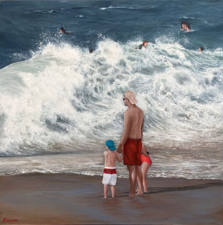 """ Dis Papa , t'as peur ? "" - Painting,  80x80x2 cm ©2017 by FLORE CASTAIN -                                                                        Figurative Art, Canvas, Family, Beach, plage, Biarritz, baigneurs, enfants, famille, papa"