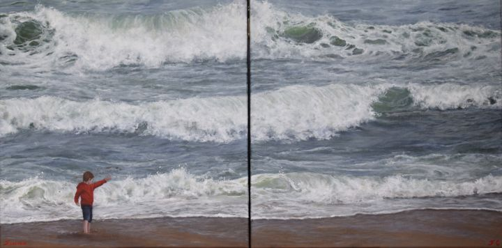 """ Même pas peur ! "" - Painting,  50x100x2 cm ©2018 by FLORE CASTAIN -                                                                        Figurative Art, Canvas, Kids, Beach, Biarritz, plage, vagues, enfant"