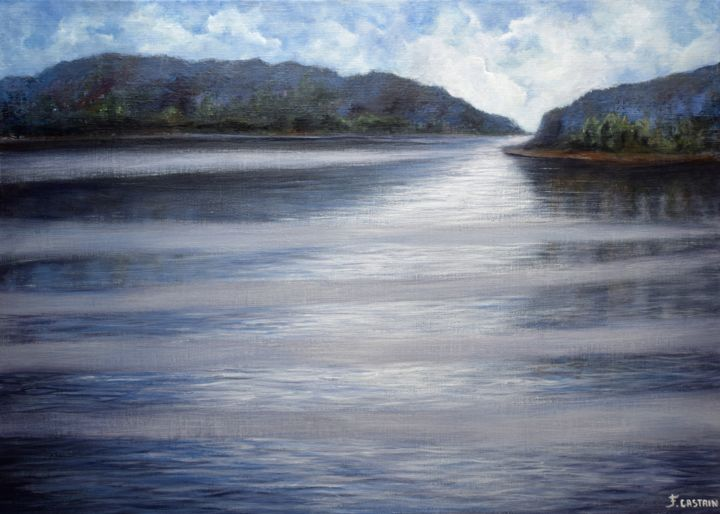 """ LE LAC DU SILENCE "" - Painting,  50x70 cm ©2015 by FLORE CASTAIN -                                                            Figurative Art, Canvas, Nature, Lac, Silence, calme, plénitude"