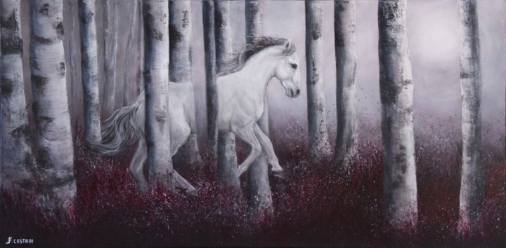 "SOLSTICE "" DIVERS "" ... - Painting,  50x100 cm ©2015 by FLORE CASTAIN -                                                                                    Surrealism, Canvas, Tree, Horses, Seasons, Cheval blanc, superposition inversée Magritte, forêt bouleaux"