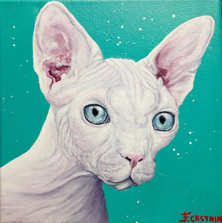 """ PERLY POPETTE "" - Painting,  20x20x2 cm ©2017 by FLORE CASTAIN -                                                            Figurative Art, Canvas, Animals, chat, chat nu, Sphinx, perly popette"