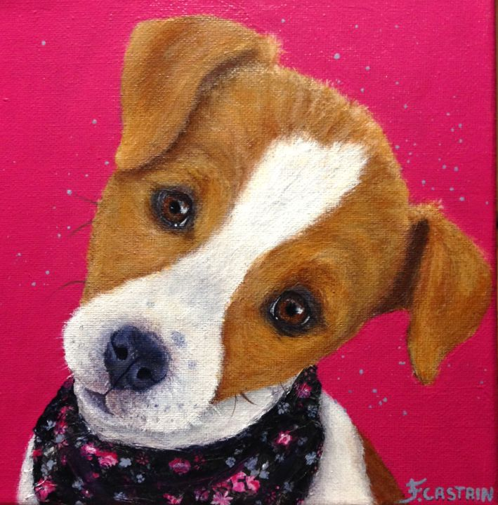 """ TARTINE "" - Painting,  20x20x2 cm ©2017 by FLORE CASTAIN -                                                            Figurative Art, Canvas, Animals, jack russel, fond fuchsia pop, portrait chiot"