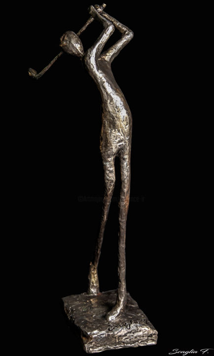 golfeur Bronze - Sculpture,  20.9x8.7x6.7 in, ©2017 by florence scaglia -                                                                                                                                                                                                                                                                                                                                                                                                                                                                                                                                                                                                                                                                                                                                                                                                                          Abstract, abstract-570, Bronze, Sports, artiste français, sculpture bronze, golfeur bronze, bronze golfer, golf sculpture, bronze sculptor, scaglia-f, personnage bronze, scagla-f.jimdo.com, bronze character, french artist, golfeur trophy, trophé golfeur