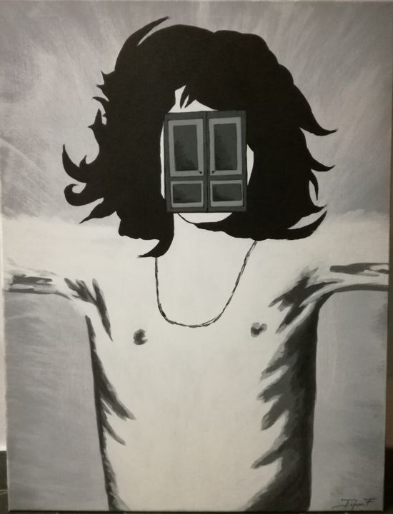 """Painting titled """"Behind closed DOORS"""" by Florentina Trifan, Original Art, Acrylic Mounted on Wood Panel"""
