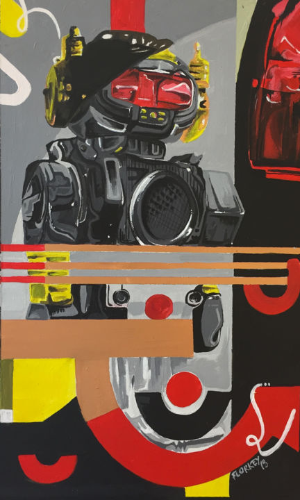 Robot - Painting,  40x24x1 cm ©2018 by Florkey -                                                        Street Art (Urban Art), Wood, Robots