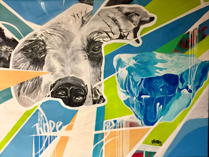 HOPE BEAR - Painting,  44.1x57.1x1.2 in, ©2019 by Florkey -                                                                                                                                                                                                                                                                                                                                                                                                              Street Art, street-art-624, Other, Animals, bear, ours, glace, réchaffement climatique