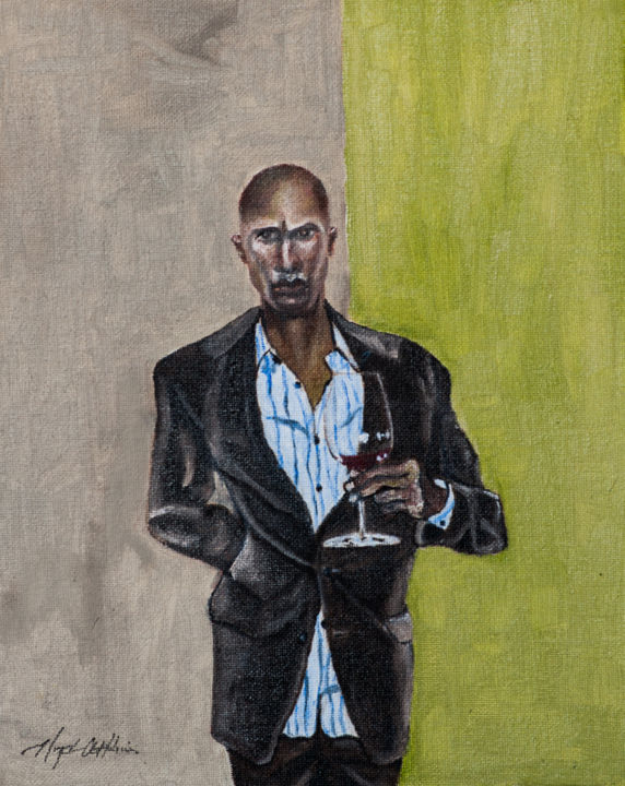 """Painting titled """"The Sommelier"""" by Floyd Atkins, Original Art,"""