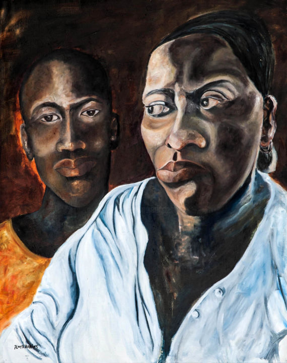 """Painting titled """"Conversation Before…"""" by Floyd Atkins, Original Art,"""