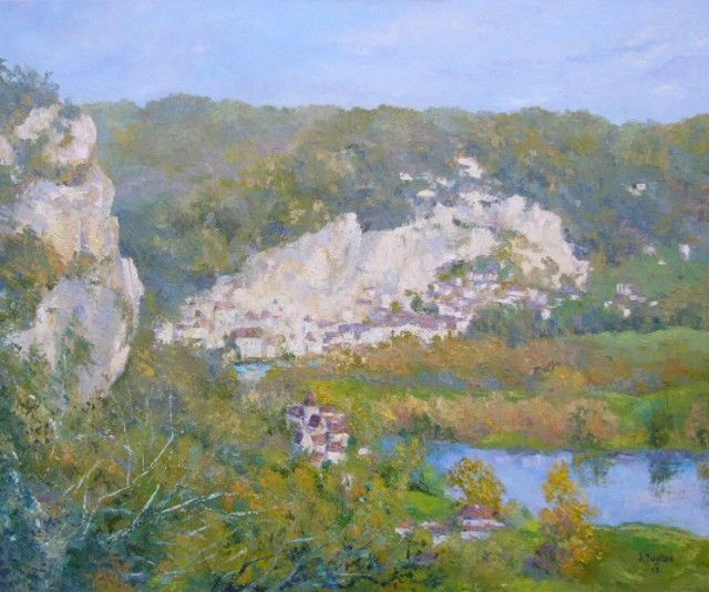 La Roque Gageac - Painting,  20.1x25.6 in, ©201 by Jacques Fontan -