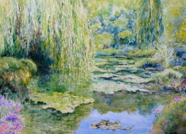 A Giverny - Painting,  15.8x19.7 in, ©2013 by Jacques Fontan -