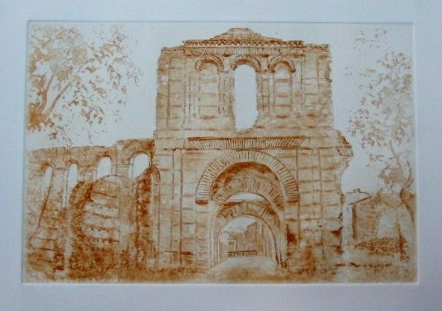 Ruines du Palais Gallien - Painting,  7.9x11.8 in, ©2013 by Jacques Fontan -