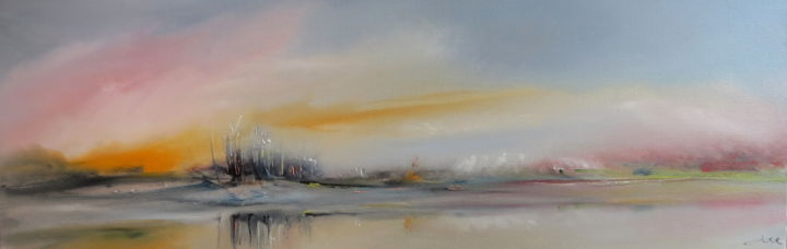 Îlot - Painting,  90x30 cm ©2014 by Gérard Forche -