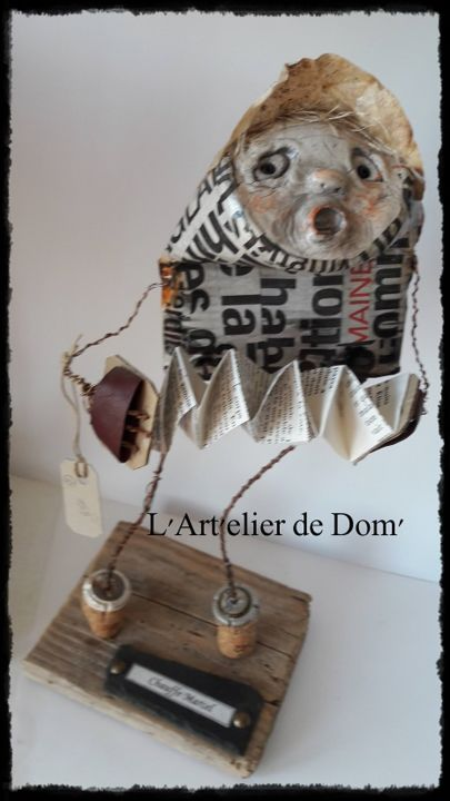 """""""Chauffe Marcel"""" - Sculpture,  14.6x6.3 in, ©2017 by Dominique FOSSEY -"""