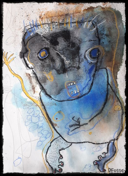 """""""L'Enfant Bleu"""" - Drawing,  11.4x7.9x0.4 in, ©2020 by Dominique Fossey -                                                                                                                          Outsider Art, outsider-art-1044"""