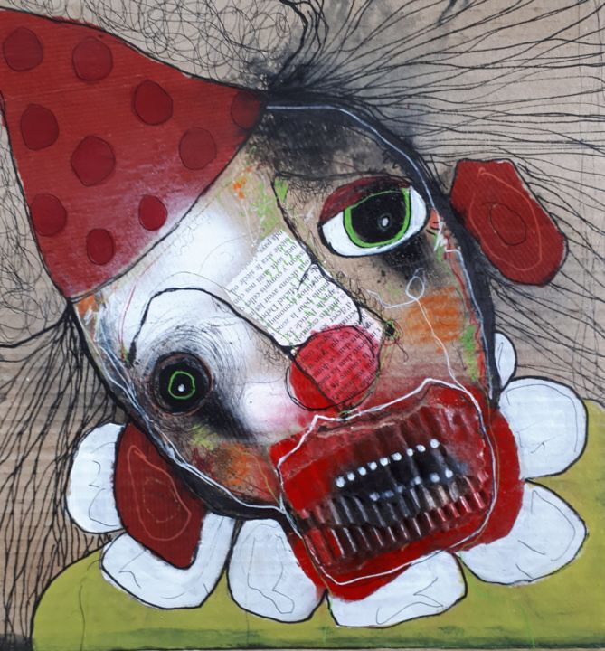 """""""Clown Triste"""" - Collages,  12.8x12.8x0.4 in, ©2020 by Dominique Fossey -                                                                                                                                                                          Outsider Art, outsider-art-1044, Portraits"""