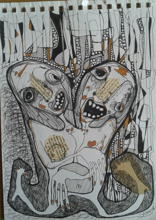 """'Sans titre 1"""" - Drawing,  11.6x8.3 in, ©2018 by Dominique Fossey -                                                                                                                          Outsider Art, outsider-art-1044"""