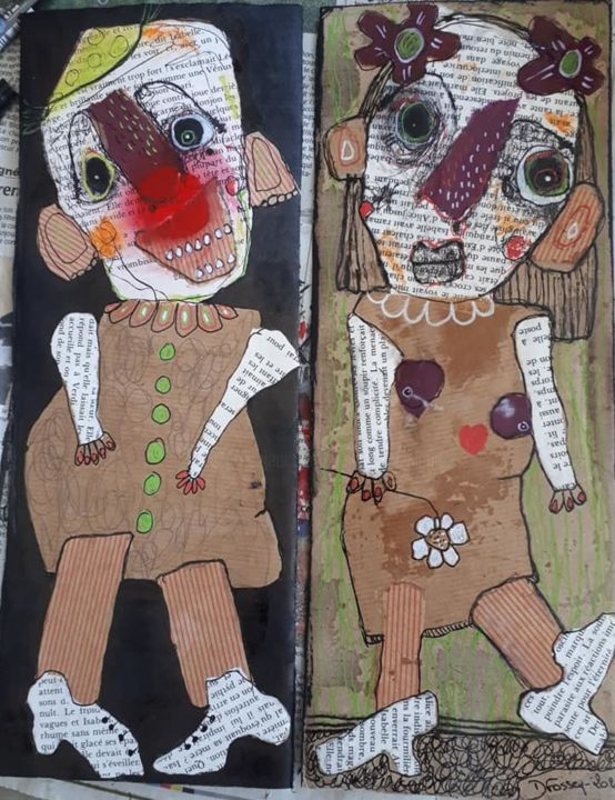 """Petit Clown est Amoureux"" - Collages,  12.8x9.8 in, ©2019 by Dominique Fossey -                                                                                                                          Outsider Art, outsider-art-1044"