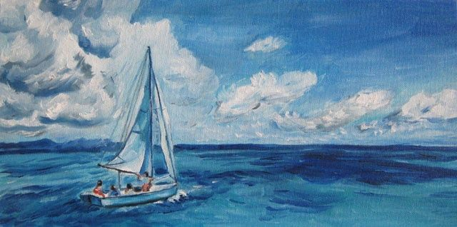 Море / Across the sea - Painting,  20x40 cm ©2011 by Svetlana Popova -            Across the sea, море, яхта, yacht