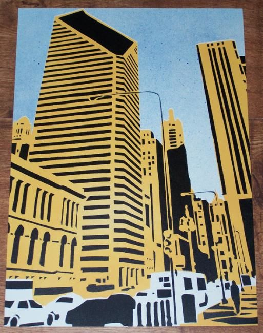 """Painting titled """"North Michigan Ave"""" by Four Deuces Art, Original Art, Oil"""
