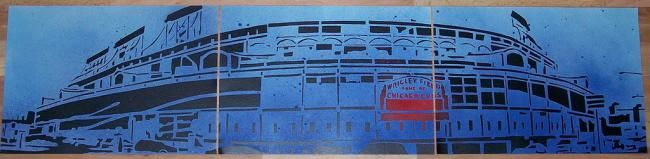 """Painting titled """"Wrigley Field"""" by Four Deuces Art, Original Art, Oil"""