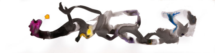 SKETCH94 - Drawing,  8x32 in ©2019 by Jim Williams -                                                                                Abstract Art, Abstract Expressionism, Conceptual Art, Expressionism, Abstract Art, abstract art, abstract expressionism, contemporary art, arte, buddist art, taoist art, drawing, brush, ink, watercolor
