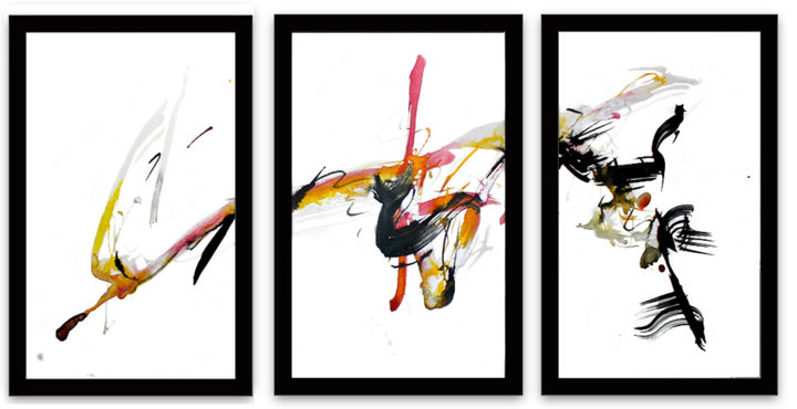 #228 A,B,C Triptych - Drawing,  14.3x32 in, ©2019 by Jim Williams -                                                                                                                                                                                                                                                                                                                                                                                                                                                                                                                                                                                                                                      Abstract, abstract-570, Abstract Art, abstract, expressionism, acrylic, ink, drawing, brush, red, yellow, black, triptych