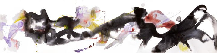 SKETCH#120 - Drawing,  8x32.5x0.1 in, ©2016 by Jim Williams -                                                                                                                                                                                                                                                                                                                                                                                                                                                                                                                                                                                                                                                                                                                          Abstract, abstract-570, ink, acrylic, brush, red, yellow, black, purple, paper, drawing, abstract, expressionism, gestural, fine art