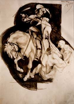 """Drawing titled """"St. Anthony"""" by Vulpe Mircea, Original Art,"""