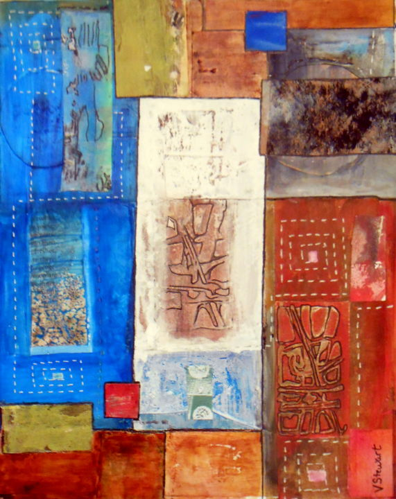 """Collages titled """"Pictographs"""" by Veronica Stewart, Original Art,"""