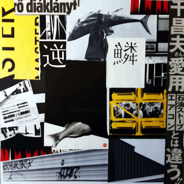 Ukiyo-e - Collages,  19.7x19.7x0.1 in, ©2020 by Fred Mandon -                                                                                                                                                                                                                                                                                                                                                                                                                                                                                                                                                                                                                                                                                                                                                      Asia, Calligraphy, World Culture, Geometric, Travel, Japon, Tokyo, New York, Klein, Budapest, Hongrois, Japonais, Anglais, Voyage, Culture, Plein et vide