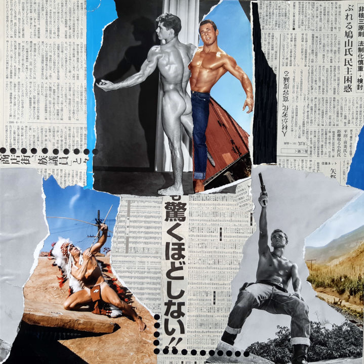 Pan pan ! - Collages,  19.7x19.7x0.1 in, ©2020 by Fred Mandon -                                                                                                                                                                                                  Indien, Cow boy, Christ à la Colonne, Tirer