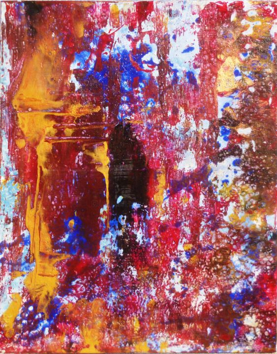 n-22. - Painting,  0.2x0.2x0.8 in, ©2019 by France Torregrosa -                                                                                                                                                                                                                                                                                                                                                                                                                                                                                                                                                                                                                                                                                      Abstract, abstract-570, Cotton, Architecture, pollock, abstrait, pouring, medium, rouge, couleurs, fantastique, acrylique, eau, cellules