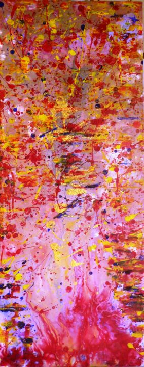 explosion - Painting,  0.2x0.1 in, ©2019 by France Torregrosa -                                                                                                                                                                                                                                                                                                                                                                                                                                                                                                                                                  Abstract, abstract-570, Cotton, Architecture, peinture, pouring, dripping, expressionnisme, abstrait, couleurs, taches jet
