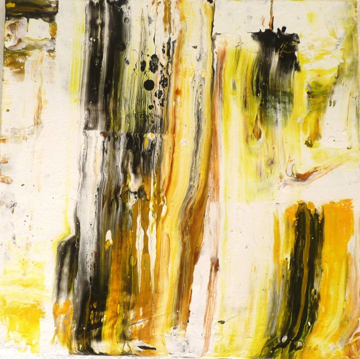 n°34 - Painting,  0.2x0.2x0.6 in, ©2018 by France Torregrosa -                                                                                                                                                                                                                                                                                                                                                                                                                                                                                                                                                                                          Abstract, abstract-570, Architecture, Pooring, dripping, acrylique, medium, soleil, jaune, chaleur, joie, gaieté
