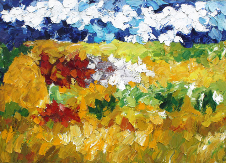 """Painting titled """"paesaggio-campo-di-…"""" by Francesca Camisasca, Original Art, Oil"""